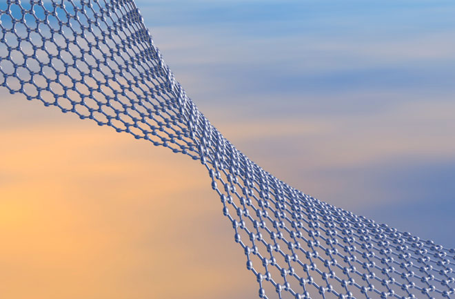 Graphene layer in atom scale