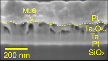 Memory wafer seen in this electron microscope appear layered structure of tantalum oxide graphene multilayer