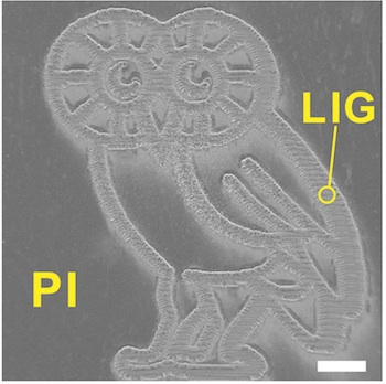 Rice University Owl was produced by burning a graphene foam pattern into a flexible polyimide sheet with a laser