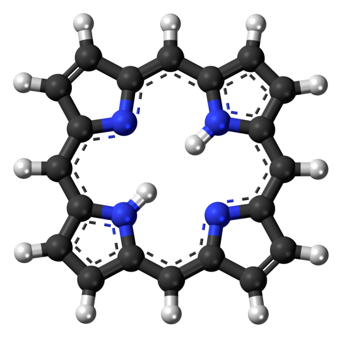 The porphyrin ring structure is aromatic, with a total of 26 electrons in the conjugated system.