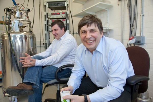 Andre (right) and Kostya (left) in their laboratory at the University of Manchester 2010