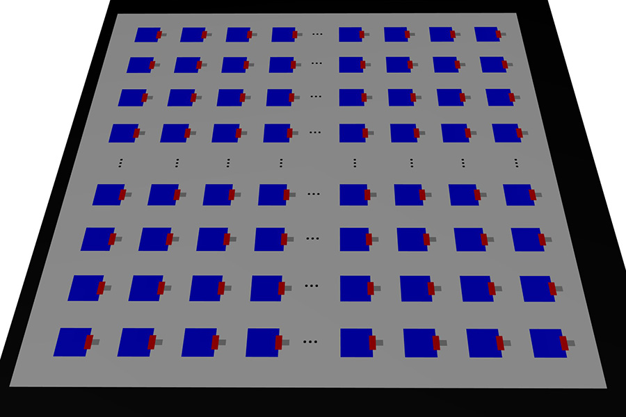 Graphene-based nano antennas (blue and red dots) on a chip.