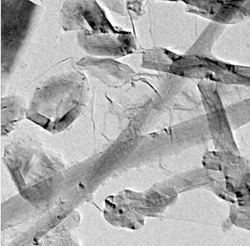 A microscope image of rebar graphene shows carbon shells, multiwalled carbon nanotubes and two-dimensional graphene.