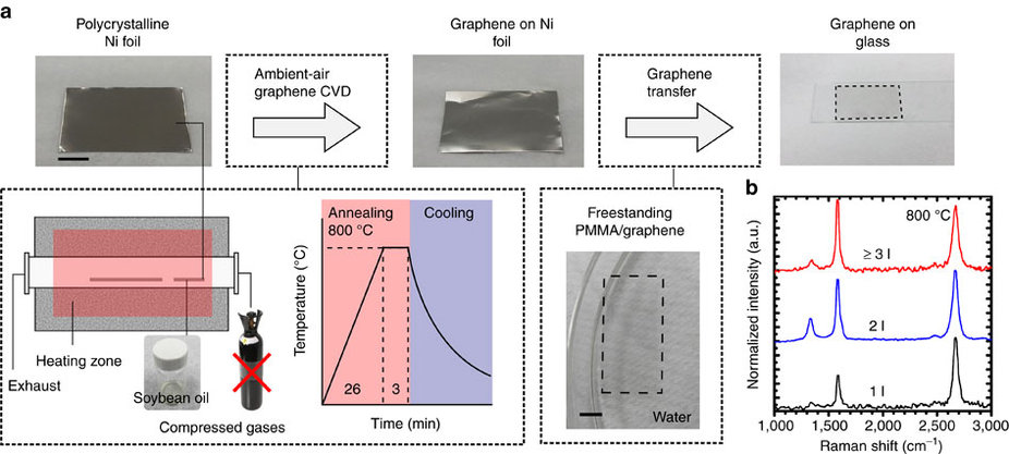 Create graphene films polycrystalline in Ni foil by soybean oil at an ambient air environment.